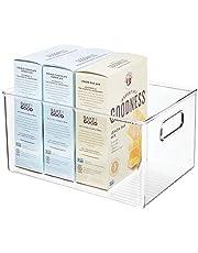 mDesign - Opbergbox - bewaarmand/bergruimte - voor koelkast, schap, keukenkast - diep/open bovenkant/met handvat/plastic - 28,6 cm x 20,3 cm x 15,2 cm - Doorzichtig