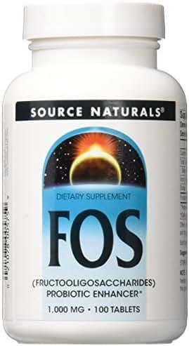 Source Naturals FOS (Fructooligosacchairdes) 1000mg Probiotic Enhancer - Prebiotic Supplement - Natural - 100 Tablets