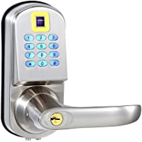 EZlock ELC03 Backlit Fingerprint Keyless Door Lock with Passage Function and Voice Setting Guidance, Satin Nicke - Right Handle