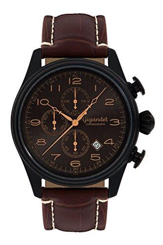 Gigandet Men's Quartz Watch Timeless Chronograph Analog Leather Strap Brown Black G41-005