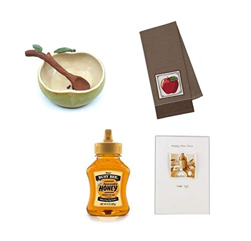 4 Piece Rosh Hashana Gift Package Includes Artist-Signed Pottery Honey Server + 12 ounce Honey + Matching Apple Kitchen Towel