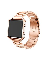 Watch Band, ABC Luxury Fashion Stainless Steel Watch Band Strap +Metal Frame For Fitbit Blaze Activity Tracker watch (Rose Gold)