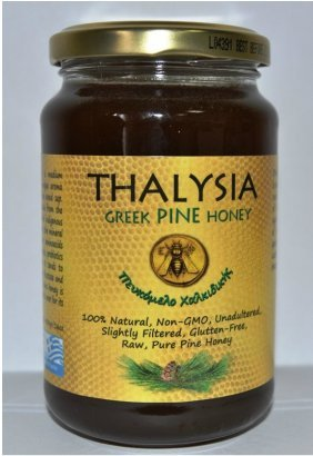 Price comparison product image Superior Taste Award winning (Golden Star) - THALYSIA Greek Pine HONEY - Raw,  unpasteurized,  only lightly filtered (454gr-16oz)