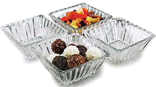 Circleware Squared Small Glass Serving Mixing Bowls 4-Piece Set Glassware for Fruits Salad, Beverage, Ice Cream, Dessert, Food Home & Kitchen Decor Gifts, 4.65
