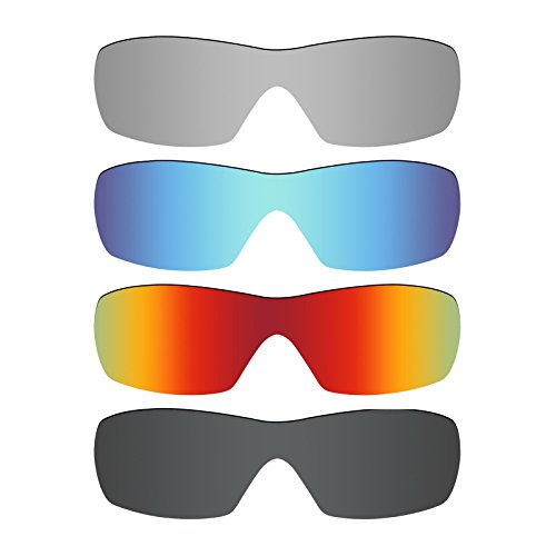 Mryok 4 Pair Polarized Replacement Lenses for Oakley Dart Sunglass - Stealth Black/Fire Red/Ice Blue/Silver - Lenses Oakley Dart