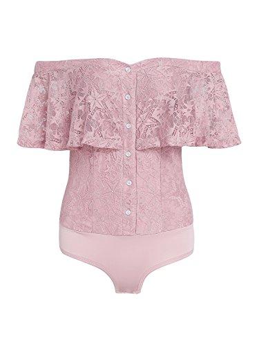 - 41iQMFRunxL - Simplee Women's Summer Floral Mesh Lace Bodysuit Off Shoulder Leotard Lingerie