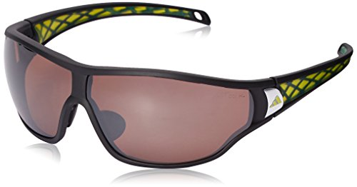 - adidas Tycane Pro S A190 6051 Polarized Rectangular Sunglasses, Matte Black & Lab Lime, 69 mm