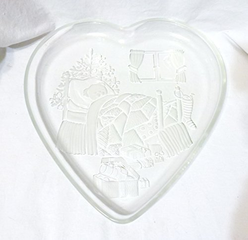 Vintage Mikasa Crystal Heart-Shaped Partially Frosted Serving Tray, Christmas Dream