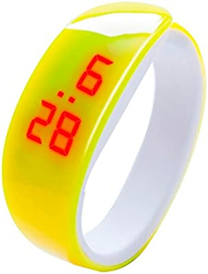 LED Fitness Bracelet Watches for Women and Men, Iuhan Fashion LED Digital Display Bracelet Watch Dolphin Young Fashion Sports Bracelet (Yellow)