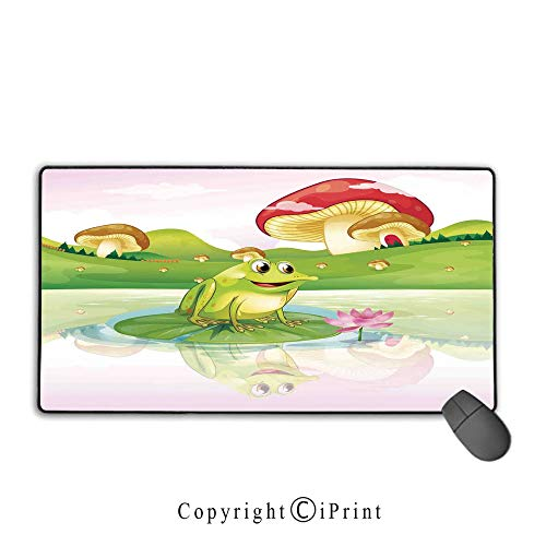 Extended Mousepad with Durable Stitched Edges,Animal Decor,Illustration of Cute Frog on Water Lily with Mushrooms on The Background Nature Lake Art Print,Multi, Non-Slip Rubber Base,9.8