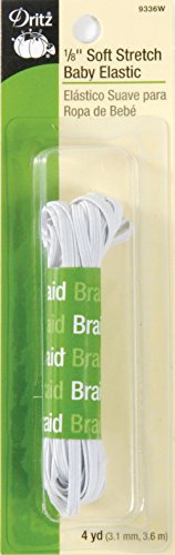 Dritz 9336W Soft Stretch Braided Elastic, White, 1/8-Inch by 4-Yard ()
