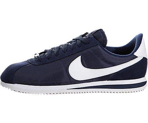 Nike Men's Cortez Basic Nylon Casual Shoe Obsidian/White/Mtllc Slvr (Cortez Nylon)