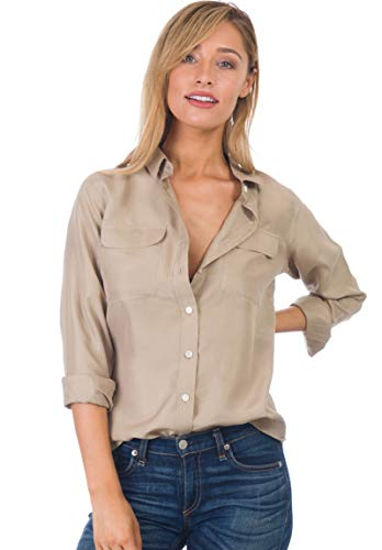 CAMIXA Womens 100% Silk Blouses Ladies Shirt Casual Pocket Button up Elegant Top XS Khaki