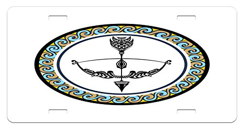 Ambesonne Zodiac Sagittarius License Plate, Victorian Inspired Bow and Arrow Design with Colorful Curves and Swirls, High Gloss Aluminum Novelty Plate, 5.88 L X 11.88 W Inches, Multicolor