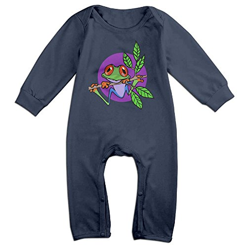 - Mri-le1 Baby Boy Girl Organic Coverall Tree Frog On Branch Infant Long Sleeve Romper Jumpsuit