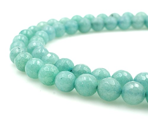 BRCbeads Gorgeous Faceted Light Blue Jade Gemstone Round Loose Beads 8mm Approxi 15.5 inch 45pcs 1 Strand per Bag for Jewelry Making