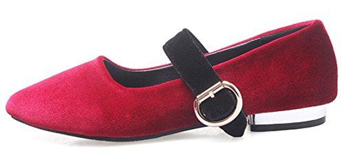 Idifu Womens Dressy Buck Låg Topp Spetsig Tå Låga Grova Klackar Faux Mocka Pumpar Mary-jane Shoes Red