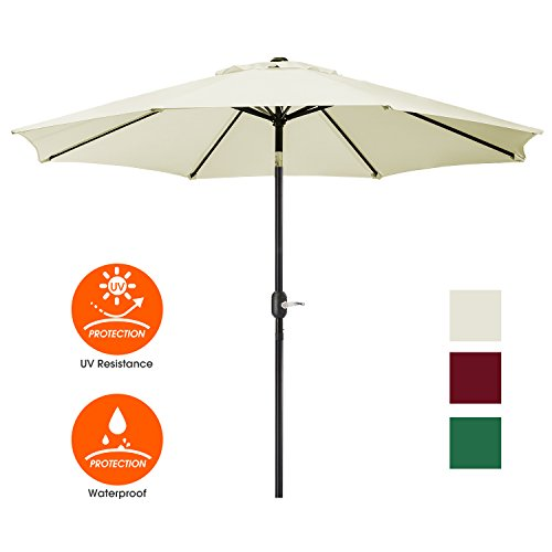 UHINOOS Patio Umbrella, 9 Ft Durable Alloy and Ribs outdoor umbrella,  Made of 100% durable polyester fabric, fade resistant,Water proof patio table umbrella,Beige 100 Patio Umbrella