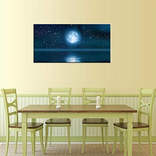 Canvas Wall Art Moon on Blue Ocean Painting Print - 20\