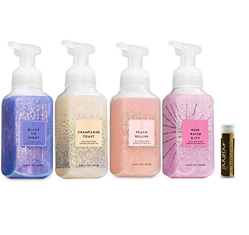 Bath & Body Works BLACK TIE NIGHT, CHAMPAGNE TOAST, PEACH BELLINI and ROSEWATER & IVY Shimmer Luxe Hand Soap Set of 4 with a Jarosa Bee Organic Chocolate Bliss Lip Balm ()
