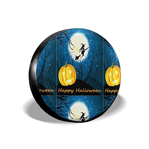 Appy Halloween Witch Pumpkin Waterproof Dust-Proof Spare Tire Cover for Many Vehicle(14,15,16,17 Inch)