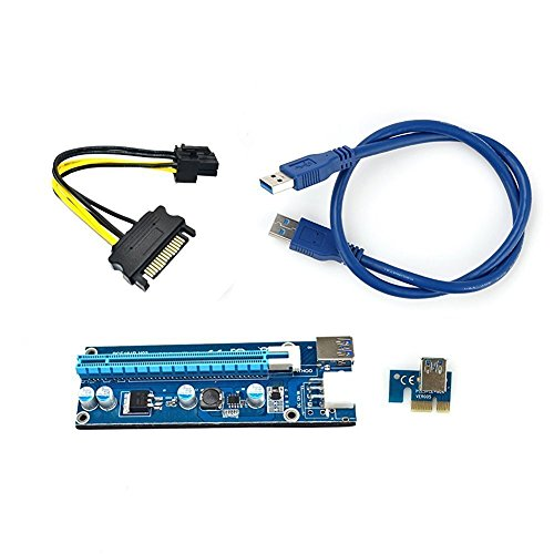 Dedicated Graphics Card PCI-E 1X to 16X Riser Card 164P with 4 Pin to SATA Power Supply USB 3.0 Cable (4pin) ()