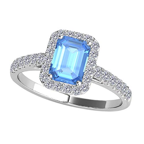 2.50 Ct. Ttw Diamond And Emerald Shaped Blue Topaz Ring in 10K Rose, White Yellow Gold