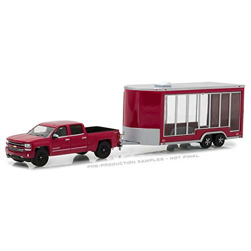 GreenLight 1:64 Hitch & Tow Series 12 2016 Chevrolet Silverado and Glass Display Trailer Diecast Vehicles by Greenlight
