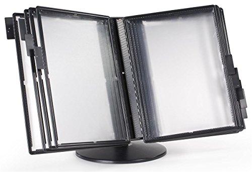 (Displays2go Black Plastic Desktop Document Reference Binder with 10 Double-Sided Vinyl Pockets (DK10DPSBK))