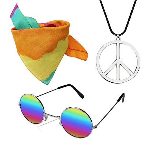 KERIQI Hippie Dressing Accessory Set, 70s Hippie Costume for Women with Sunglasses, Peace Sign Necklace, Tie Dye Headband Rainbow