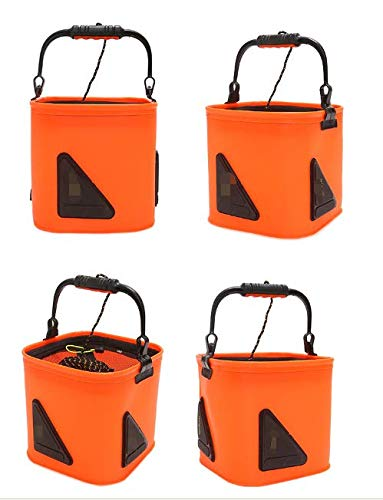 Easyinsmile Portable Collapsible Fishing Bucket Camping Water Storage Portable Wash Basin for Traveling Hiking Fishing Boating Gardening Water Container Pail with Lid and 5 Meters Rope (Orange) by Easyinsmile