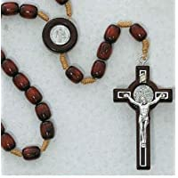 Wood Beads Rosary St Benedict Medal Center & Crucifix Corded Handmade Jerusalem
