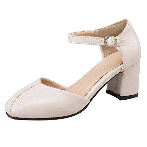 RAZAMAZA Mujer Moda Zapatos de Tacon Ancho Correa de Tobillo Verano Beige
