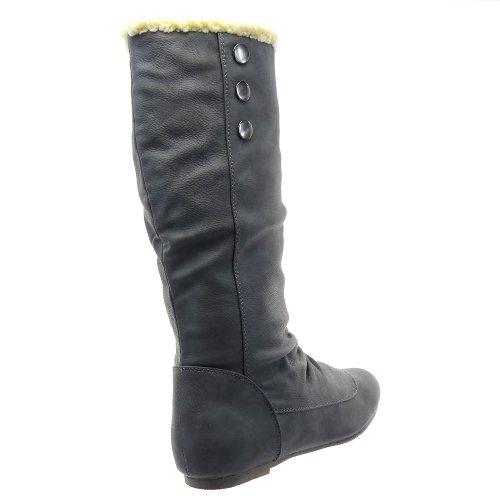 Kickly - Chaussure Mode Botte Bottine Genoux femmes fourrure fourrées reversible - Gris