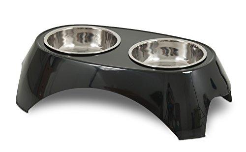 Petmate 28 oz Italia Raised Double Bowl, Large, Black - Doskocil / Petmate Dog Feeder