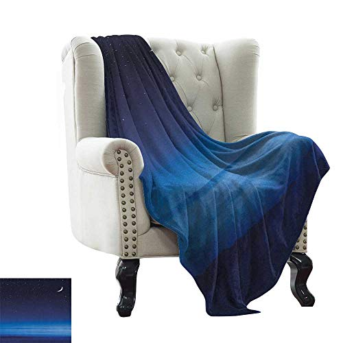 Night, Blankets Queen Size, Moon and Stars Over Santa Barbara Channel Infinity Foggy Pacific Ocean, Lightweight Blanket Extra Big, (W90 x L90 Inch Dark Blue Sky Blue White
