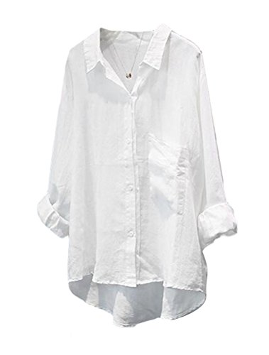 (Minibee Women's Casual Cotton Linen Blouse High Low Shirt Long Sleeve Tops)