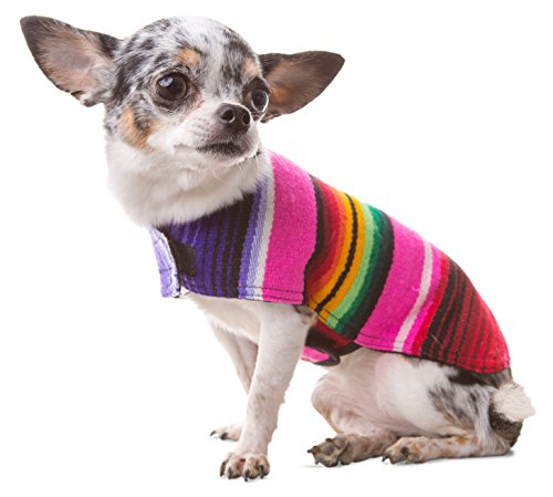 Baja Ponchos Dog Clothes - Handmade Dog Poncho from Authentic Mexican Blanket (Pink No Fringe, X-Small)]()