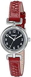 Timex T2N6609J Women's Analog Round Watch Red Leather Strap