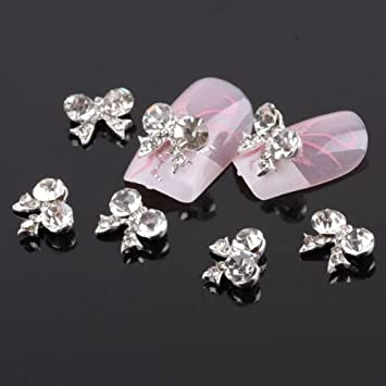Amazon.com  350buy 10x Bow Tie 3D Clear Rhinestone Nail Art DIY Decoration   Beauty e6d2d2a62bb3