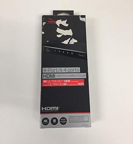Rocketfish - 4-Port 4K HDMI Switch Box - Black RF-G1501