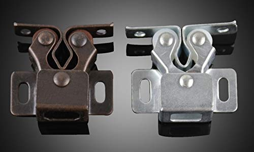 50Pcs/Lot Cupboard Cabinet Closet Door Double Roller Catch Latch, White and Red Bronze For Option - (Color: Red Bronze)
