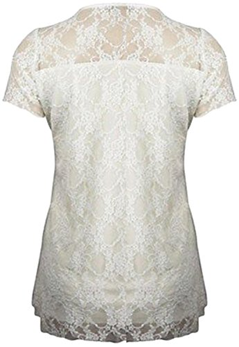 Women Plus Size Short Sleeve Top Womens Stretch Fit Lace Floral Dress (18/20, White) by Xclusive Collection (Image #2)