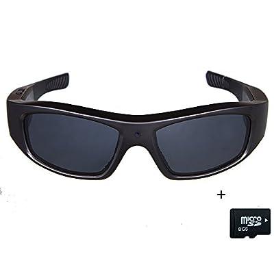 TOBENONE Sunglasses with Camera HD 720P Video Recording Glasses with 8GB SD Card Black