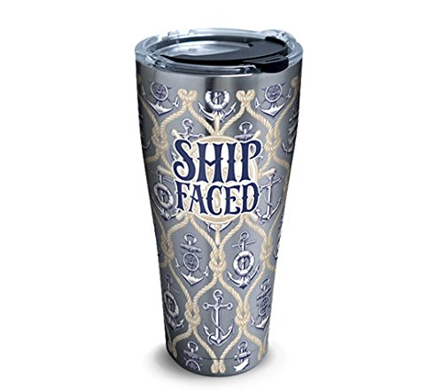 Tervis 1289341 Ship Faced Stainless Steel Tumbler with Clear and Black Hammer Lid 30oz, Silver