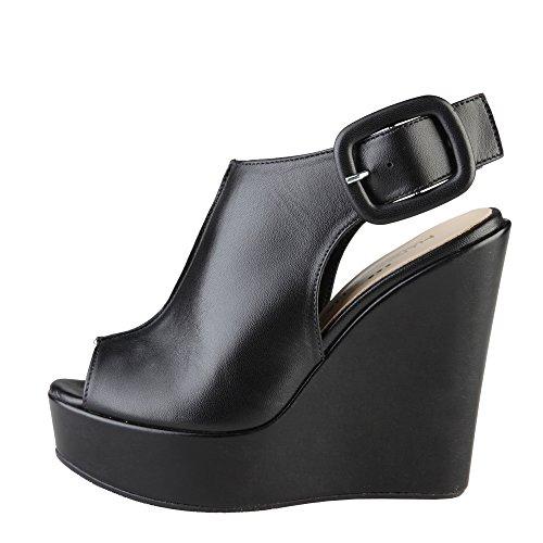 De Italia Negro In Made Mujer Sandalias Cuña Clotilde x4SwAwIq