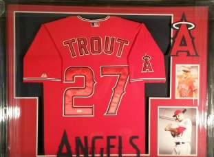 Mike Trout Autographed Los Angeles Angels Framed Signed Jersey JSA Authenticated