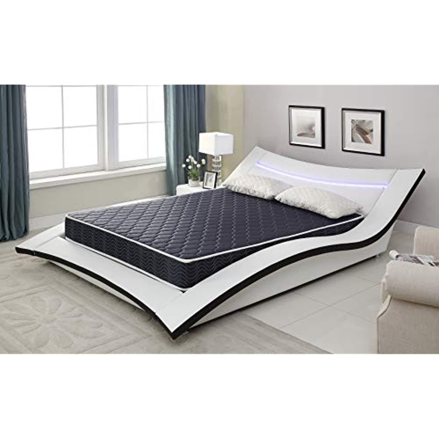 AC Pacific 4 Foam Mattress Covered in a Stylish Navy Blue Waterproof Fabric, Twin