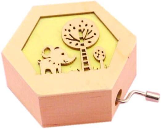 Caja de música de madera, diseño de elefante tallado, caja de música para niños, caja de música con manivela: Amazon.es: Hogar