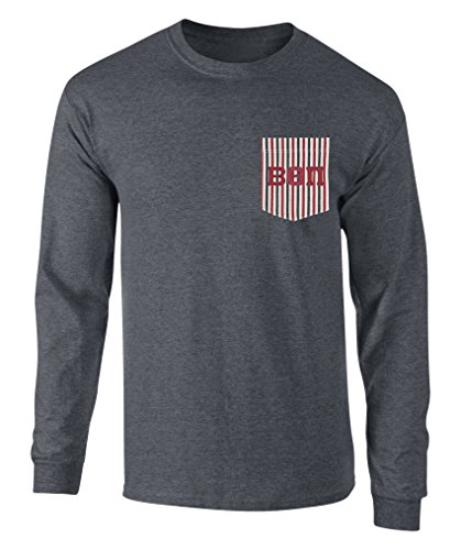 Fashion Greek Beta Theta Pi Americana Pocket Long Sleeve T Shirt with Twill Letters Dk Hther M -